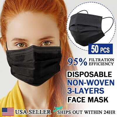 50 Pc Face Mask Non Medical Surgical Dental 3-ply Earloop Disposable Cover Black