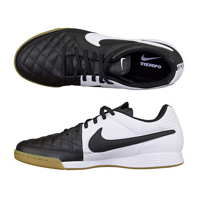 NIKE TIEMPO GENIO LEATHER SCARFACE TRAINERS MEN SHOES BLACK/WHITE SIZE 12 NEW