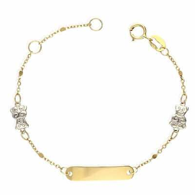 14k Two-Tone Gold Cable Link Teddy Bear Charm Baby ID Bracelet 4.5