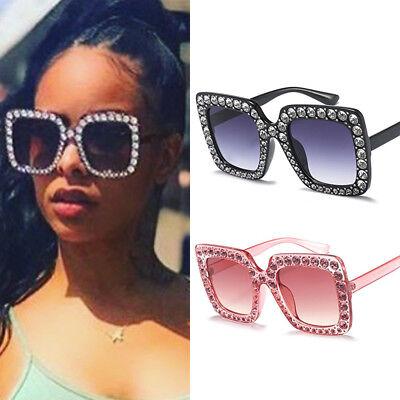 Oversized Large Square Frame Bling Rhinestone Sunglasses Women Fashion Shades (Large Square Frame Sunglasses)