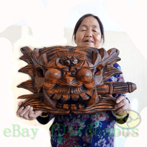 "China Folk Art Wood Hand Carved NUO MASK Walldecor Art-TUN KOU(Gate Deity)13x20"""