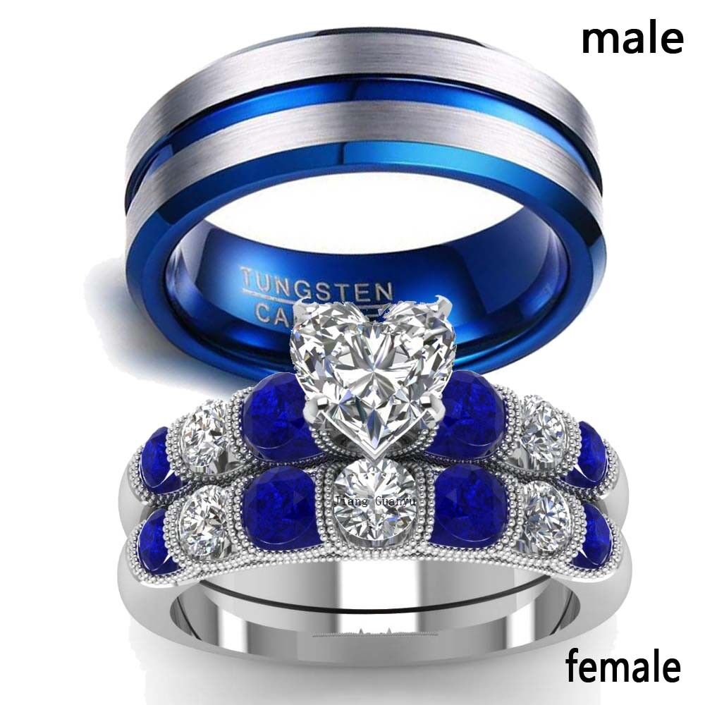 2 rings couple rings stainless steel sapphire
