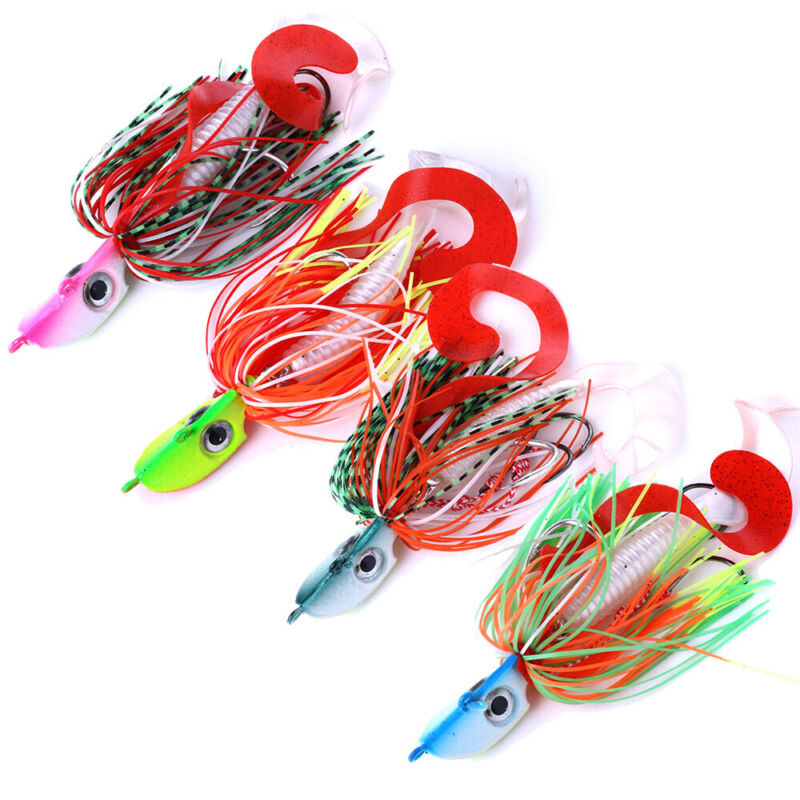 spinner bait Lead Head Bait With Soft Skirt Jig Metal Head Beard fishing lure