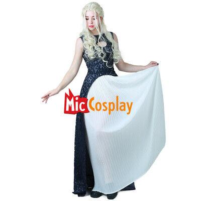 Game of Thrones Daenerys Targaryen Dark Navy Blue White Dress Cosplay Costume