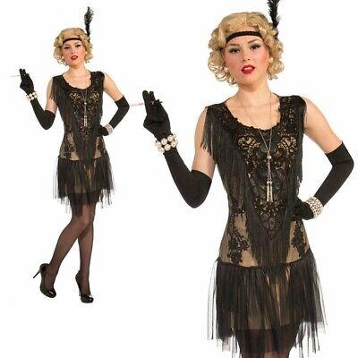 Damen Deluxe Rücken Flapper Kostüm 1920 Charleston Outfit - Schwarzes Flapper Kleid Halloween Kostüme