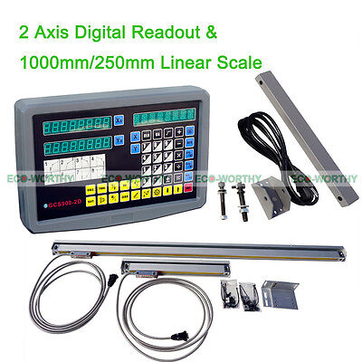 2 Axis Digital Readout Dro Kit 2 Pcs Linear Scale Encoder With Accessories Usa