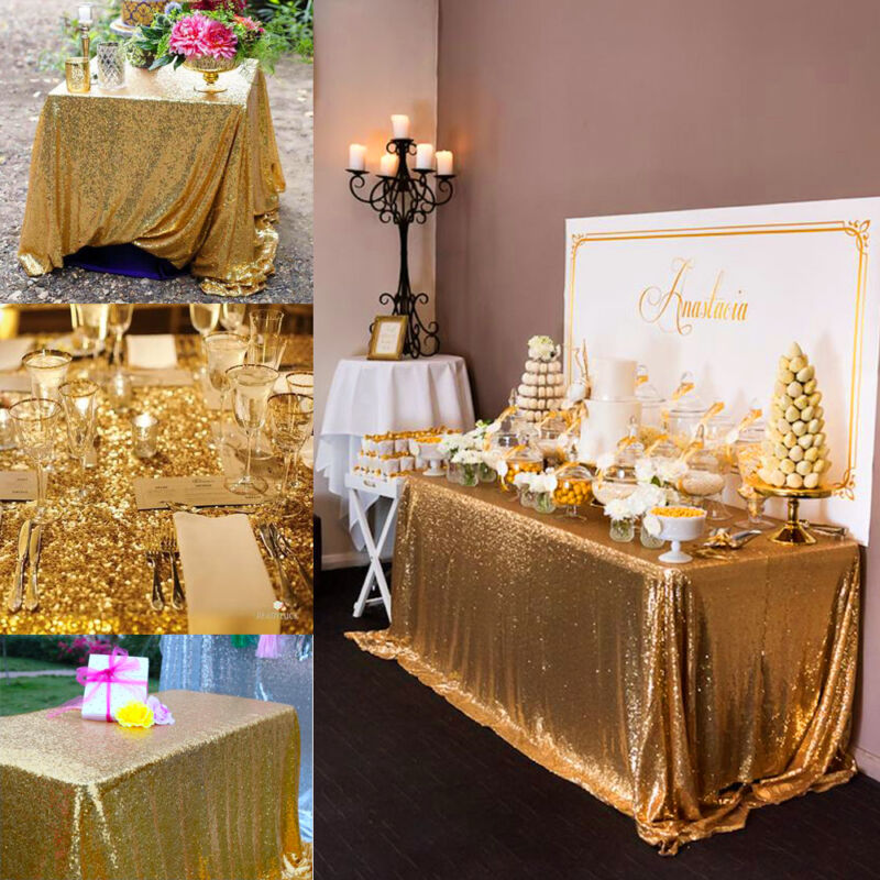 Gold Wedding Decor Ideas: 100*150cm Rectangular Sequin Tablecloth Table Cloth