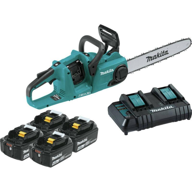 Makita XCU04CM1 18V X2 (36V) LXT 16 in. Chainsaw Kit w/ (4) Batteries (4 Ah) New