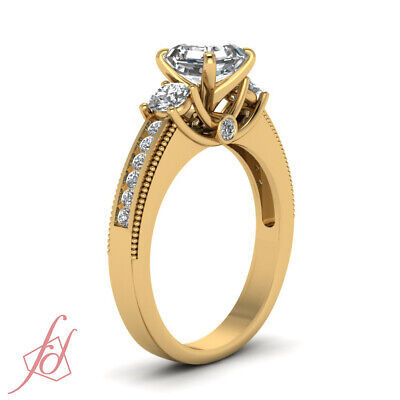 1.20 Ct Asscher Cut Diamond Yellow Gold Engagement Ring With Round Accents GIA 2