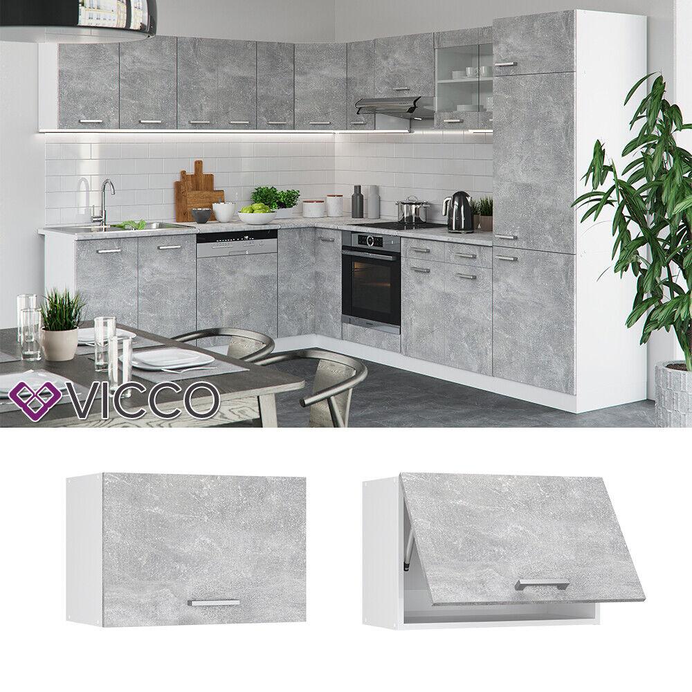 VICCO Küchenschrank Hängeschrank Unterschrank Küchenzeile R-Line Hängeschrank 60 cm (flach) beton