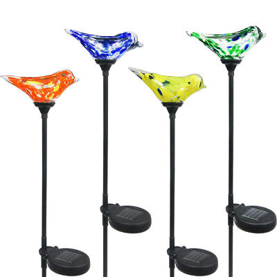 4 Solar Glass Bird Light Color Changing LED Landscape Path Stake Post Lamp Yard