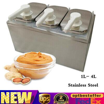 1l- 4l Stainless Steel Seasoning Sauce Dispenser Ketchup Syrup Salad Jam Pump