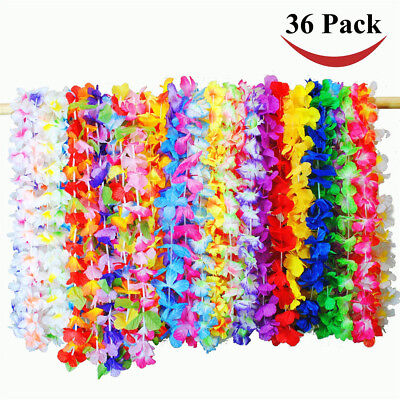 36 Pack Tropical Hawaiian Luau Flower Lei Party Wedding Favors Home Store Decor