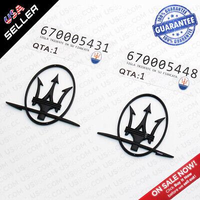 Maserati Quattroporte GranTurismo Ghibli RH & LH Side Logo Gloss Black Emblem