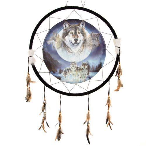"""Giant 26"""" 3 Wolves Wolf Moon Night Scene Mountain Dream Catcher Feathers 2685"""
