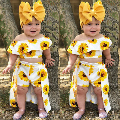 USA 3PCS Toddler Kids Baby Girl Sunflower Crop Tops Shorts Dress Outfits - Dress Girl Baby