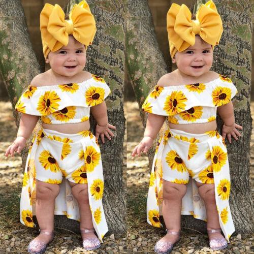 USA 3PCS Toddler Kids Baby Girl Sunflower Crop Tops Shorts D