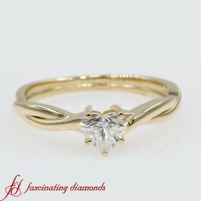 Half Carat Heart Shaped Diamond Solitaire Split Shank Twisted Engagement Ring