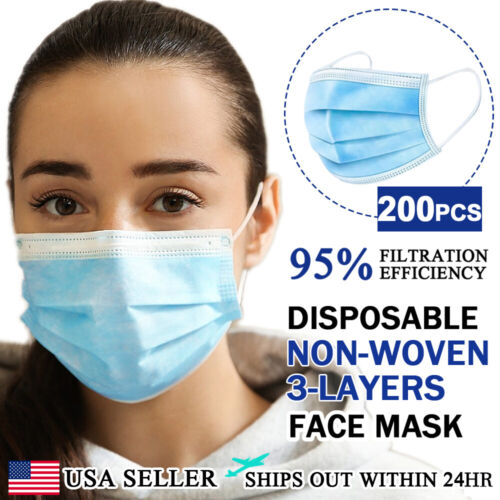 [200 PCS] Face Mask Non Medical Surgical Disposable 3Ply Earloop Mouth Cover Business & Industrial