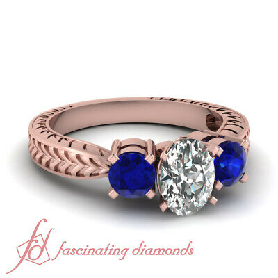 1.25 Ct 3 Stone Oval Shaped Diamond And Sapphire Gemstone Engagement Ring GIA