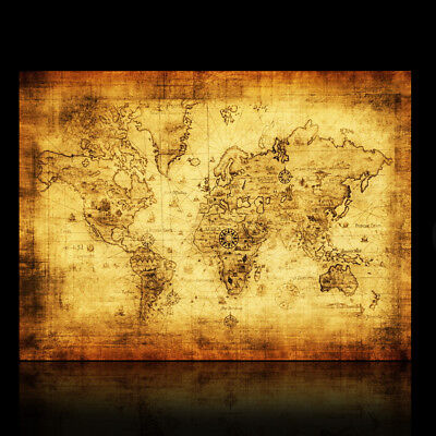 Xcm Retro World Map Poster Home Bar Decortion Kraft Paper - Retro world map poster