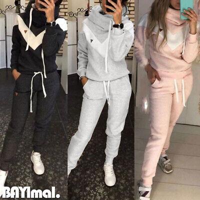 Women Fleece Hooded Sweatshirt Long Pants Set Ladies Casual Tracksuit Loungewear