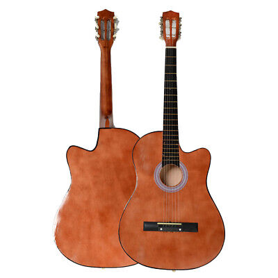New 38 Inch Right Handed Practice Acoustic Guitar Cutaway Design Coffee
