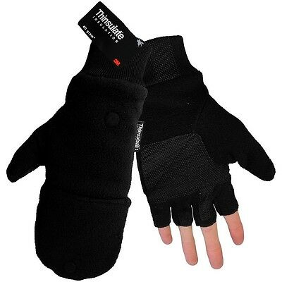 3m Thinsulate Fleece Fingerless Winter Work Gloves Flip Up Mitten Medium