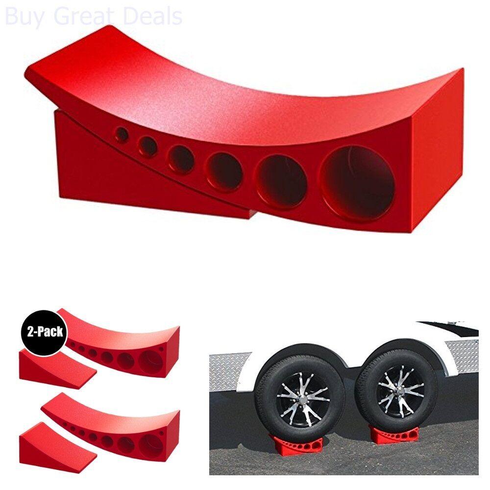 Details about 2 Pack Camper Leveler & Chock Set RV Trailer Leveling Kit  Tires Stabilizer Jack