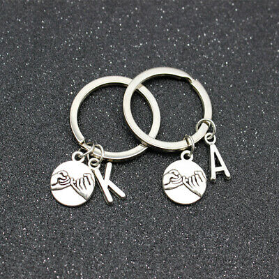 A-Z Pinky Promise Charm Keychain Key Ring Love Couples Best Friend