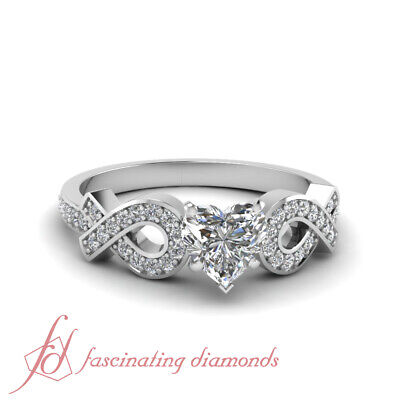 .70 Ct Womens White Gold Engagement Rings Pave Set With Heart Shape Diamond GIA