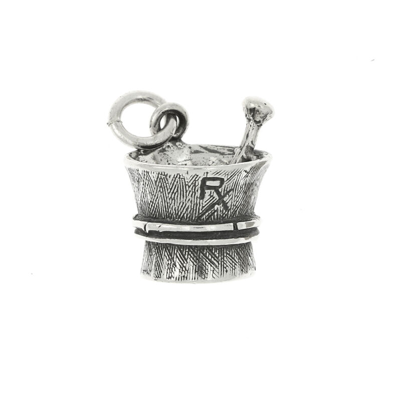 STERLING SILVER 3D LARGE RX MORTAR CHARM OR PENDANT