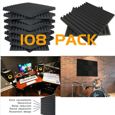 "108 Pack Acoustic Foam Panels Wedge Studio Sound Absorption Tiles 12"" X 12"" X 1"""