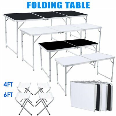 4 6ft Folding Table Portable Outdoor Picnic Party Dining Camp46 Folding Chairs