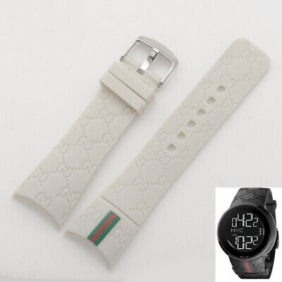 Rubber White Deployment Watch Strap Band For (Fits) I-Gucci Digital Men's Watch Mens Rubber Band