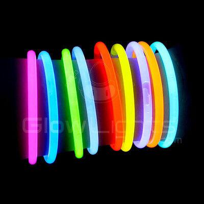 """50 x 8"""" Glow Light Sticks Bracelets Asst Colors Neon Glo Party Necklaces Glasses"""