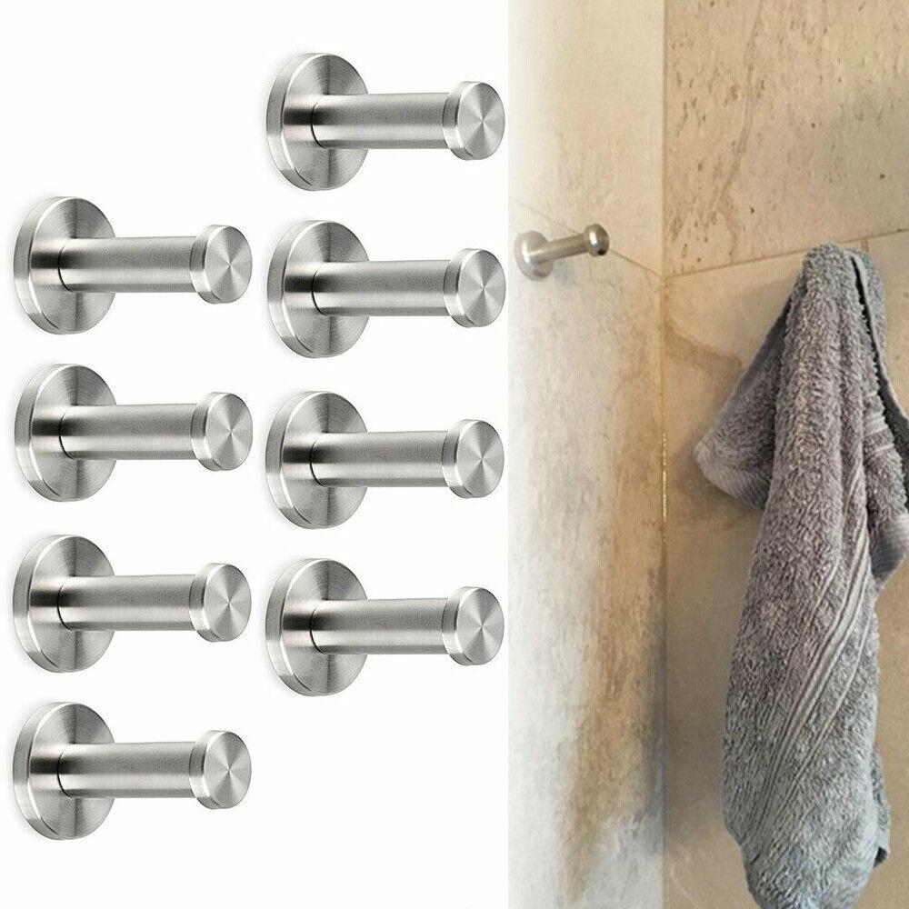 3pcs//Lot Bathroom Robe Dual Hook Holder Bathing Towel Wall Hanger Brushed Nickel