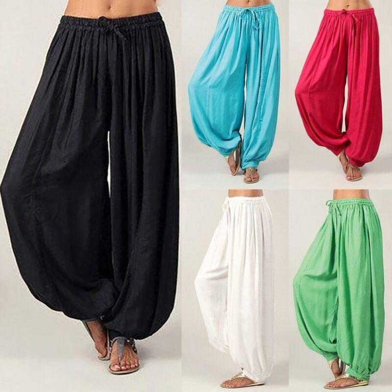Womens Ali Baba Harem Trousers Pants Leggings Linen Baggy Aladdin Boho Hippy