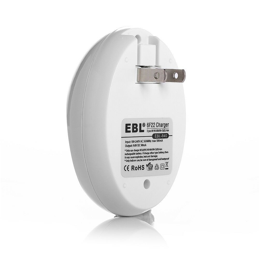 EBL 6F22 9V 600mAh Li-ion Rechargeable Battery (2 Pack) + 9 Volt Charger