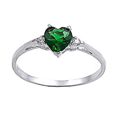 (Silver 0.81ct Heart Cut Emerald Ice CZ and IOF CZ Promise Friendship Ring, Jadyn)