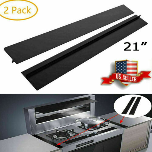 2Pcs Kitchen Silicone Stove Counter Gap Cover Oven Guard Spill Seal Slit Filler