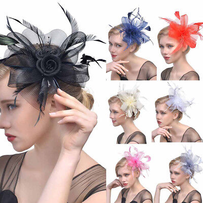 Women Lady Flower Mesh Ribbons Feathers Headband Cocktail Tea Party Hat Headwear (Tea Party Ribbons)