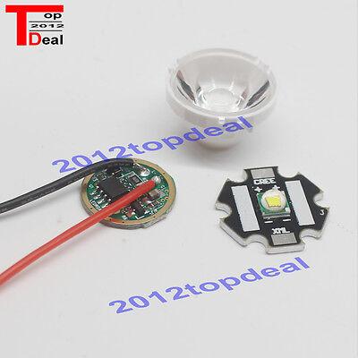 1set Cree Xm-l Led T6 White Light 3.7v Driver Lens With Base Holder