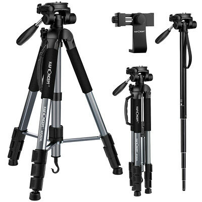 "K&F Concept 70"" Portable Aluminum Camera Tripod Monopod Pan Head with Phone Clip"