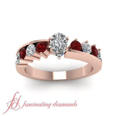 1.70 Ct Ruby & Pear Shaped Diamond Engagement Rings For Her in 14K Rose Gold GIA 1