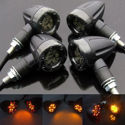 4x Universal Motorcycle LED Amber Lamp Rear Turn Signal Brake light Indicator ky