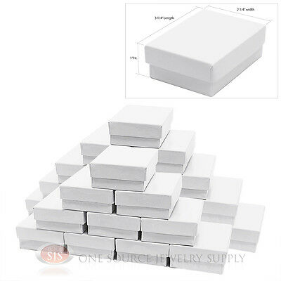 25 White Gloss Cotton Filled Jewelry Gift Boxes Charm Ring Box 3 14 X 2 14