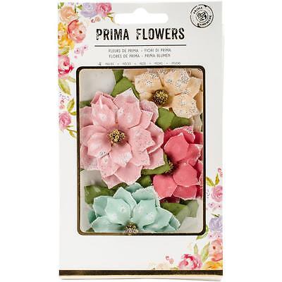 """Prima Marketing Sweet Peppermint Flowers First Snowfall 2.5"""" Papier Blüten"""