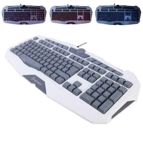 Backlit Led Illuminated USB Wired Game Keyboard With Adjusta