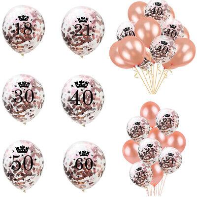 Rose Gold Happy Birthday Bunting Banner Balloons 18/21st/30/40/50/60 Party Decor (Happy 18 Birthday)